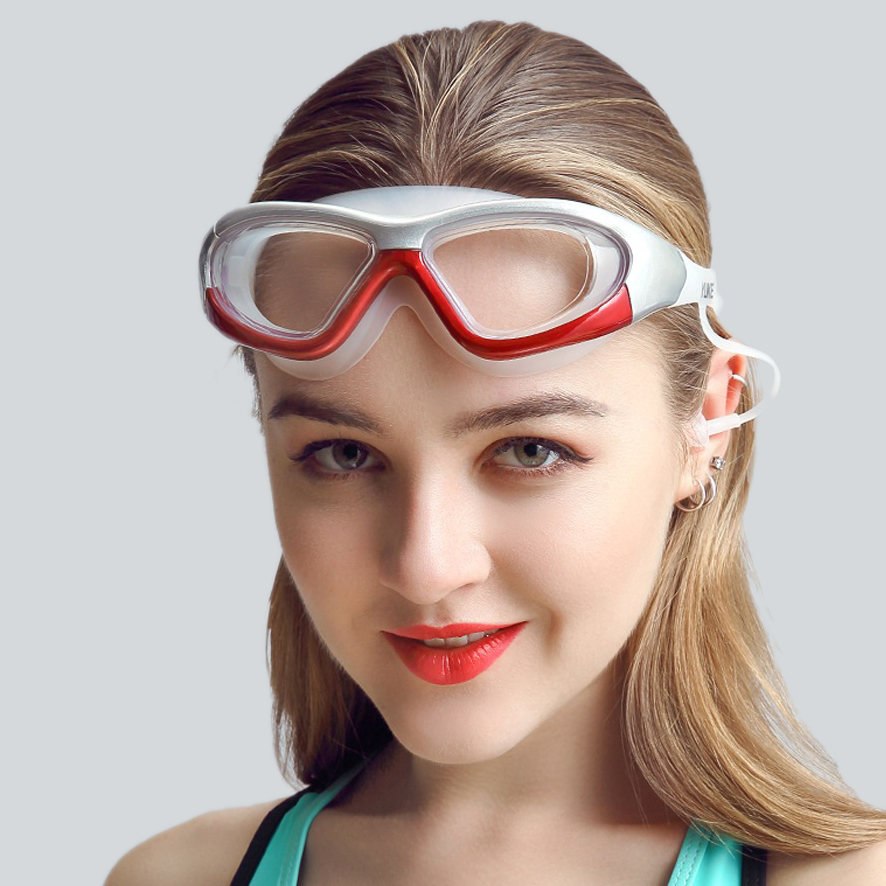 professional diopter myopia silicone swimming goggles anti-fog waterproof with earplugs