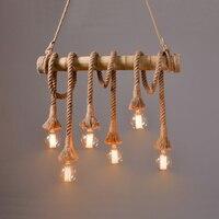 Pendant Light E27 Led Bulb Bamboo Bar 100 Handmade Flax Rope Vintage Design For Dining Room