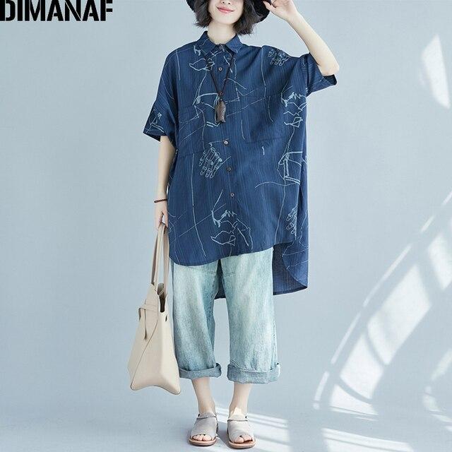 d0389fb025 DIMANAF Mulheres Camisa Blusa de Verão Plus Size Roupa De Impressão Azul  Senhora Do Escritório do sexo feminino Grande Roupas Top Fina Cardigan  Longo Solto ...