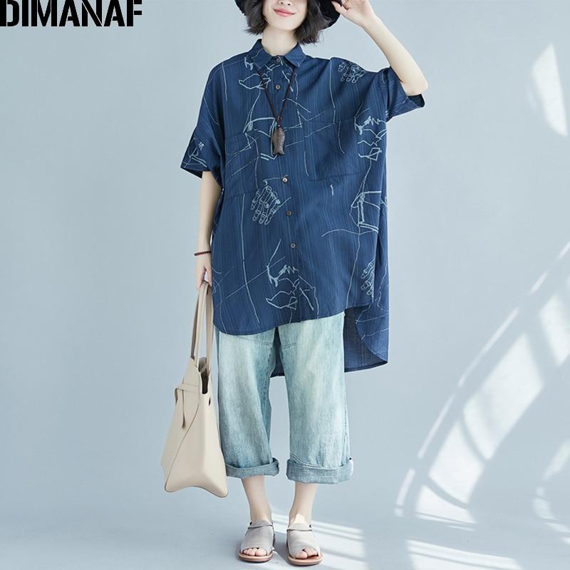 DIMANAF Women   Blouse     Shirt   Summer Plus Size Linen Print Blue Female Office Lady Large Clothing Top Thin Loose Long Cardigan 2018