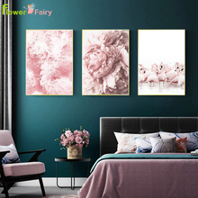 Flamingo Nordic Poster Art Modern Rose Flower Wall Canvas Painting Posters Pictures For Living Room Home Decor Unframed