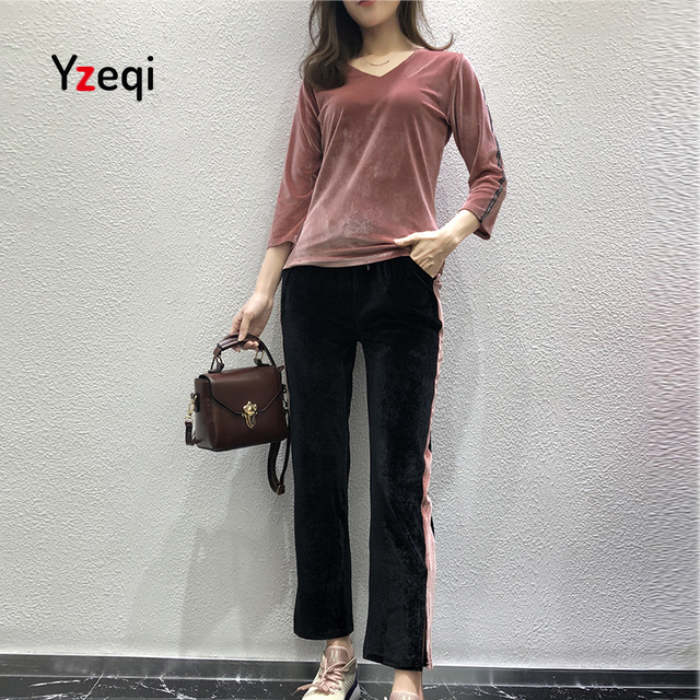 Yzqi Velour Tracksuit Women Two Piece Set Spring Autumn Long Sleeved T  Shirt And Loose Long e67148c3a8b2