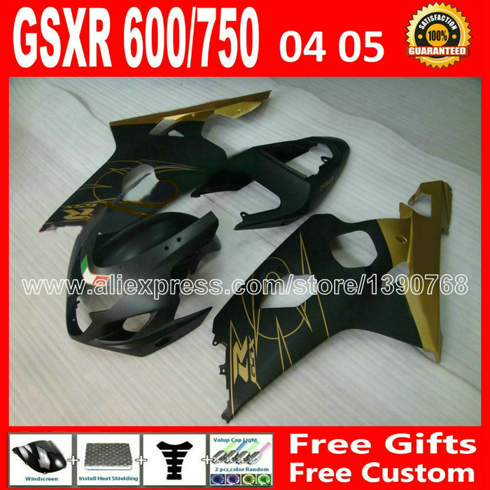 Hot sale for flat black gold 2004 2005 SUZUKI GSXR 600 750 fairing kit K4  gsxr600 EYB 04 05 gsxr750 fairings kits motorcycle 59 lowest price fairing kit for suzuki gsxr 600 750 k4 2004 2005 blue black fairings set gsxr600 gsxr750 04 05 eg12