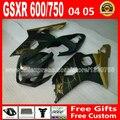 Hot sale for flat black gold 2004 2005 SUZUKI GSXR 600 750 fairing kit K4  gsxr600 EYB 04 05 gsxr750 fairings kits motorcycle 59