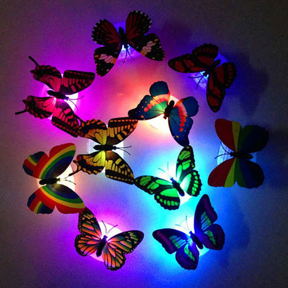 Night Light Lamp Colorful Changing Butterfly LED Cartoon Lights Glowing Toys Wall Decor Home Room Party Desk Wall Decor