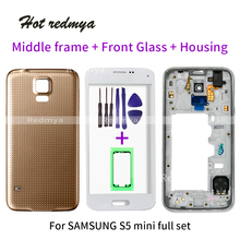 S5 mini full housing For Samsung Galaxy S5 mini G800F Outer Glass+Front Frame+Middle Frame+Battery Cover door Accessori protective tpu pc bumper frame for samsung galaxy s5 mini purple