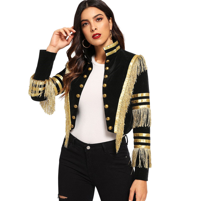 SHEIN Lady Fringe Patched Metallic Double Breasted Stripe Black Gothic Jacket Women Autumn Stand Collar Cropped Jacket 9