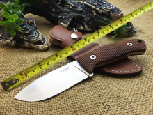 Newest !!OEM LionSteel M3 ST Hunting Knife Santos Fixed Knives,Tactical Knife Wood Handle 7Cr17Mov Blade Camping ,Leather Sheath