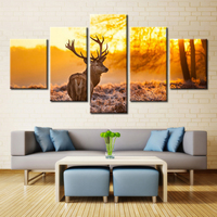 Animals Oil Painting Canvas Leopard Deer Peacock Zebra Flamingo Pretty Wall Art Home Decoration Oil Painting