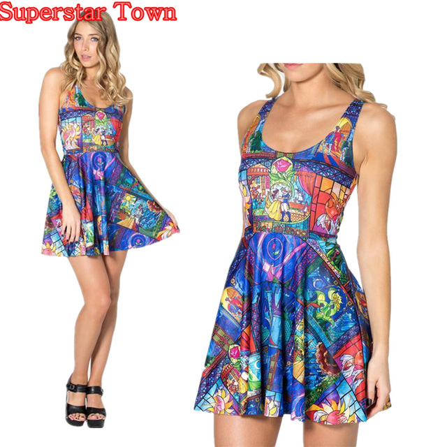 Summer Dresses Sleeveless Casual Beauty And The Beast Belle Rose