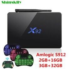 Shinsklly x92 ТВ коробка Android 6.0 Amlogic S912 Восьмиядерный ОЗУ 2 ГБ 3 ГБ + 16 ГБ 32 ГБ 5.8 ГГц Wi-Fi HD 4 К Media Player USB Умные телевизоры коробка