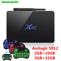 Shinsklly X92 TV Box Android 6 0 Amlogic S912 Octa Core Ram 2GB 3GB 16GB 32GB