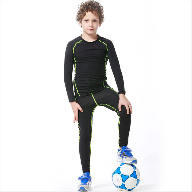 4f1a77287f26f 2018 New Kids Boys compression runing pants shirts set jerseys survetement  football youth soccer training skinny tights leggings