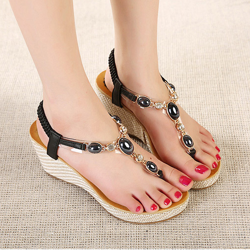 Women's shoes 2017 summer new sweet slope with female high-heeled sandals women Bohemian diamond students shoes flip flops BT533 poadisfoo 2017 new ethnic women s shoes bohemian diamond slope with a large summer sandals zapatos mujer jxf 6662b