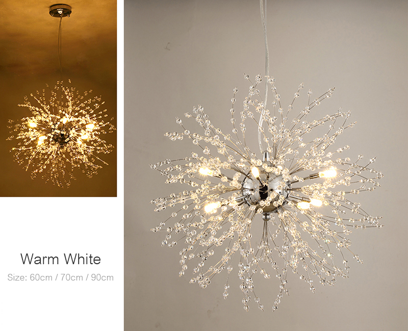 Nordic 110V-240V Crystal Dandelion Pendant Lamp Personalized Luxury Romantic Pendant Lights Creative Chandelier For Living Room Restaurant (7)