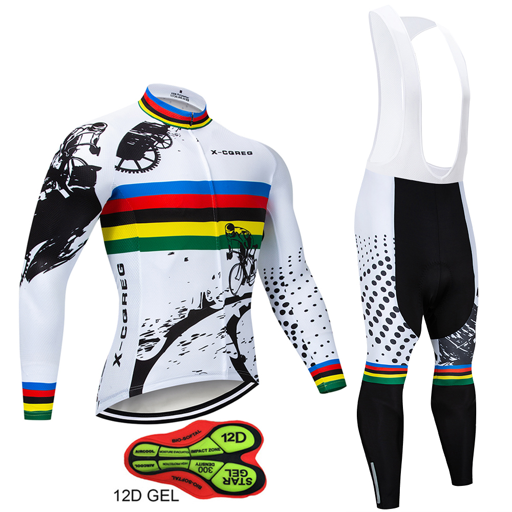 X-CQREG Anti-UV Spring Autumn Mens Cycling Clothing 100% Polyester Bicycle Cycling Wear Cycling Bike Clothes Cycling Jersey Set sahoo 45516 outdoor cycling sunproof polyester sleeves covers black white pair xxl
