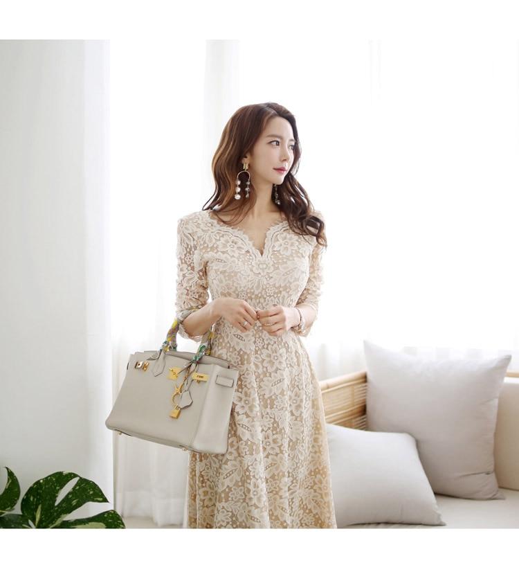 0ab07f0cfe551 HOT SALE] Elegant Ladies V neck Long Mid calf Lace Dresses Fashion ...