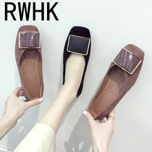 RWHK Spring shoes 2019 ladies square head shallow mouth single wild new suede flat B012