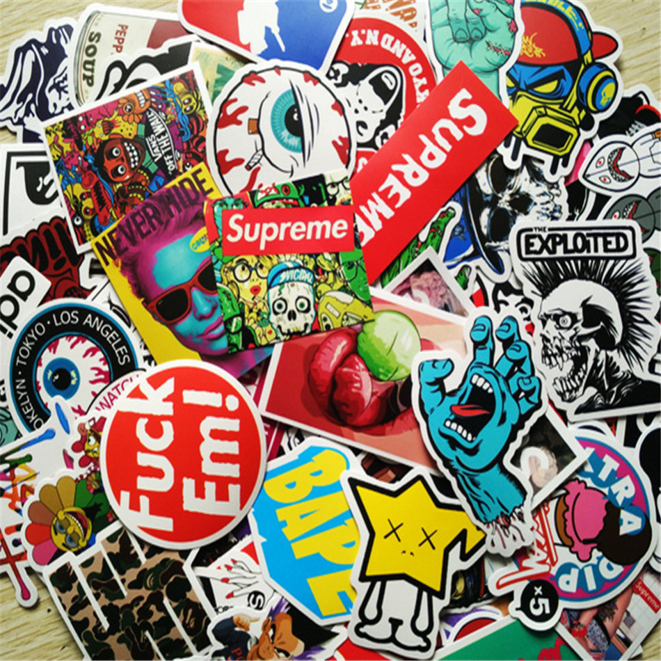 Sticker wall graffiti - 100pcs Lot All Different Colorful Wall Stickers Bicycle Motorcycle Laptop Wall Window Suitcase Stickers Diy
