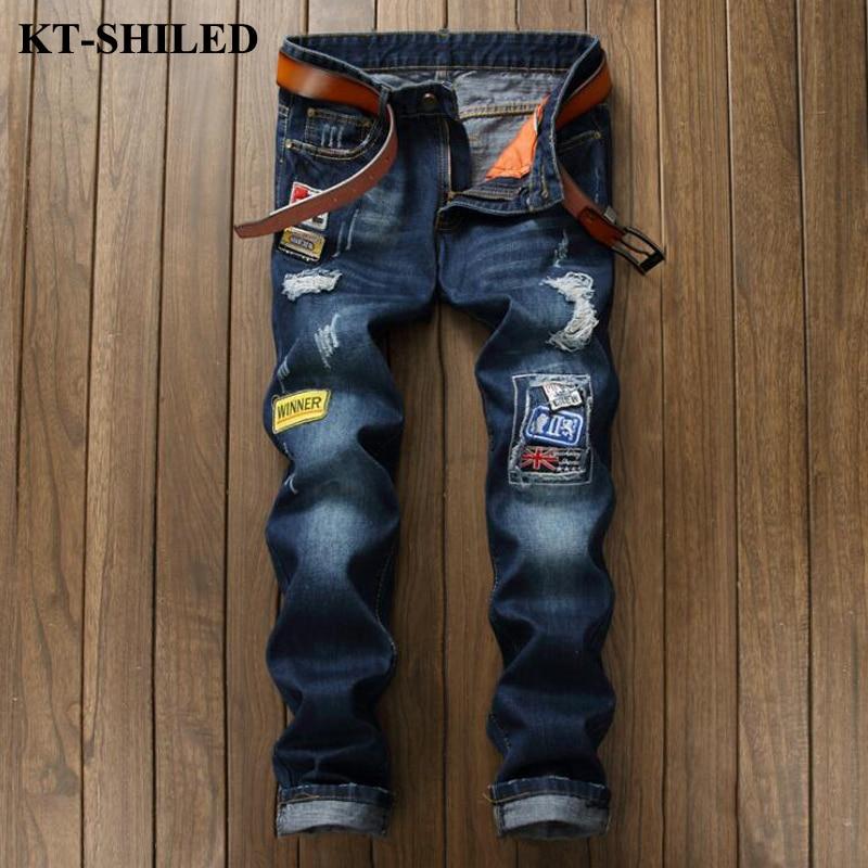 High Quality Men Jeans Brand Fashion Patchwork Patches Men s Denim Pants Ripped Trousers Men Vaqueros
