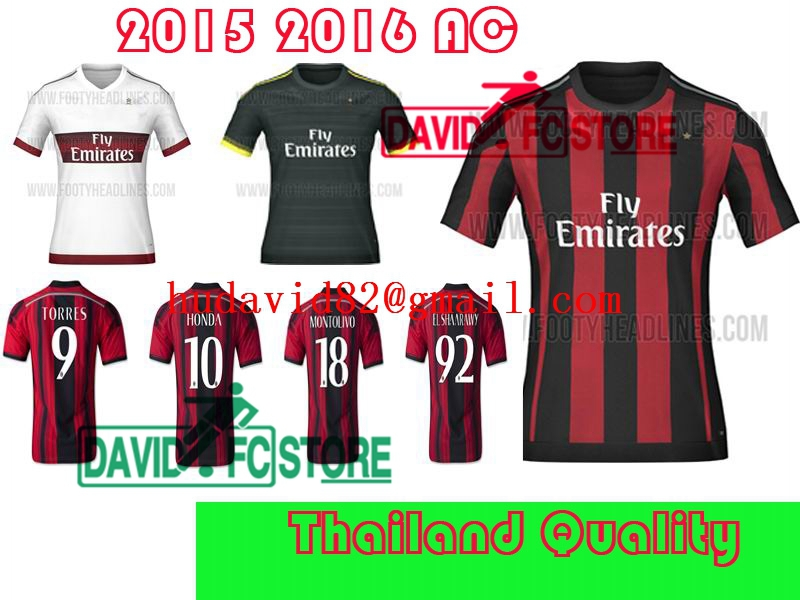 d2ef73dd7 Thai quality kit AC Milan 2016 soccer jersey EL SHAARAWY MENEZ home football  shirt MONTOLIVO soccer uniforms set MALDINI jerseys-in Soccer Jerseys from  ...