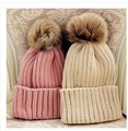 Free shipping Pure color sets flanging hat the new 2014 thickening high spring warm badminton ball ladies knitted hats