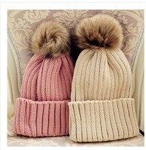 Чистый цвет комплект кромкогибы шляпа утолщение высокая весна тёплый бадминтон мяч дамы вязаные шапки