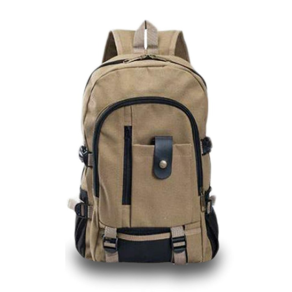 2 Color Mens Leisure Travel Canvas Shoulder Backpack menDark Red/Khaki with High-capacity for more ues New arrival