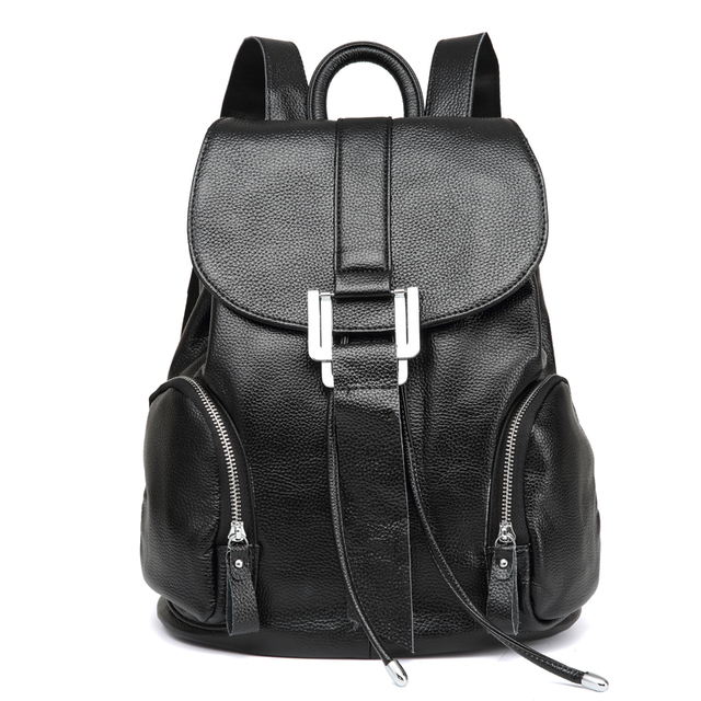New Women genuine Leather Backpacks Black Large School Bags For Teenagers  Girls Shoulder Travel Bag Schoolbags d89b966c8a