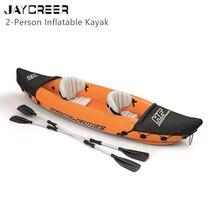 JayCreer Kayak gonflable pour 2 personnes, avec pagaie, charge 160kg, matériau PVC 0.57mm, taille 321x88cm bleu, 351x76cm Orange