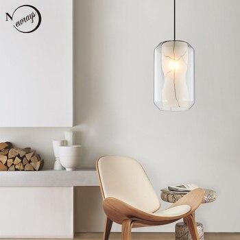 Modern marble stone texture pendant light E27 led single head glass hanging lamp for living room kitchen bedroom cafe restaurant