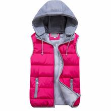 Russian Women's winter vest new listing fashion Down cotton vest Hooded Thickening Outerwear Casual Jacket Coat S-XXXL