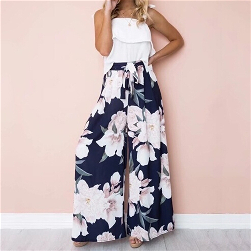 Womens High Waist Trousers Flare Wide Leg Pants Women Long Loose Pants Flower Print Palazzo Trousers Female Full Length Trousers