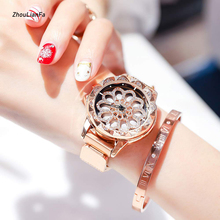 Luxury Rose Gold Women's Watches Fashion Diamond Ladies Magnetic Watch Hollow Design Wrist Watch Female Quartz Wristwatch