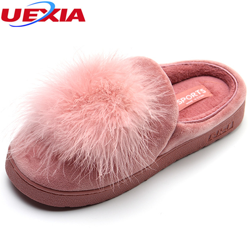 UEXIA Indoor Home Slippers Long Plush Fur Warm Non-slip Shoes Women With Winter Shape Plush Slippers Soft Bottom Bedroom Floor plush home slippers women winter indoor shoes couple slippers men waterproof home interior non slip warmth month pu leather