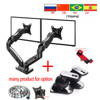 F160 27 NB full motion air press gas strut double monitor stand tv mount dual sreen 360 rotate desktop support USB 2.0 bracket