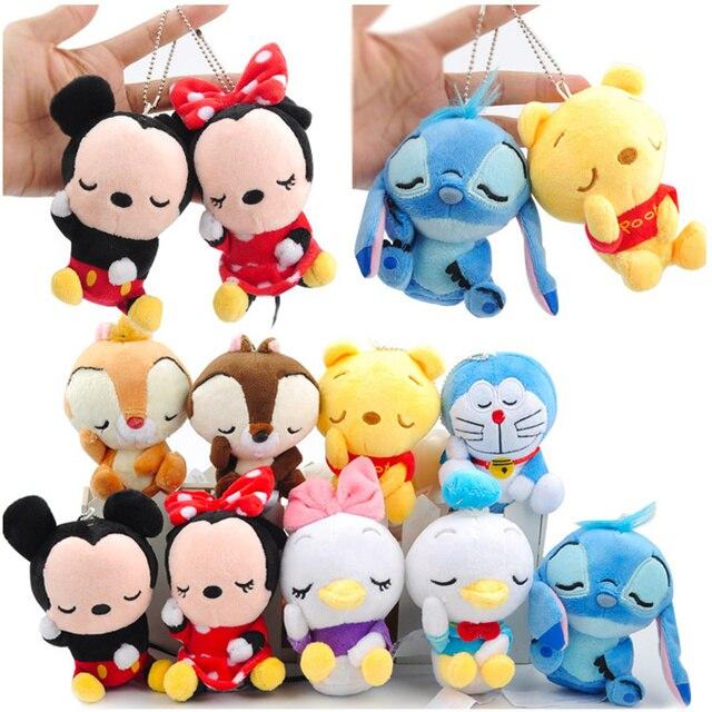 12 cm Mickey Minnie Mouse Brinquedos De Pelúcia Boneca Urso Winnie Chip Dale Esquilo Saco Ornamento Chaveiro Pingente Brinquedos