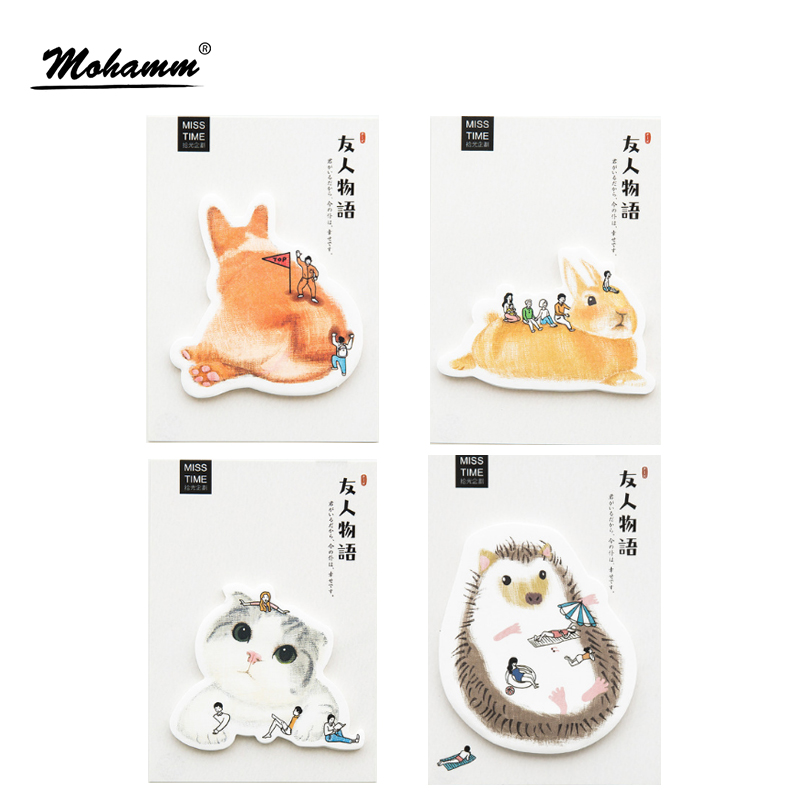 30 sheets/lot Creative Rabbit Cat Hedgehog Notebook Memo Pad Self-Adhesive Sticky Notes Office School Supplies Post It Memo Pad чехол для планшета it baggage для memo pad 8 me581 черный itasme581 1 itasme581 1