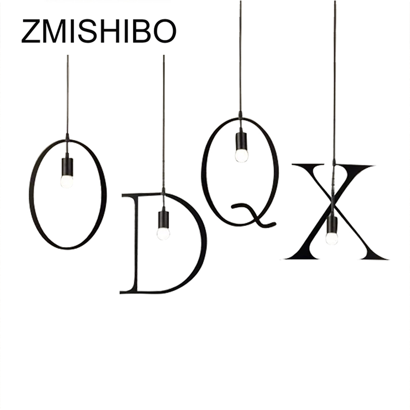 ZMISHIBO Iron Alphabet Character 0-9 Pendant Lights Fixtures For Living Room 110v-220v Modern Hanging Lamp Suspension Drop Light
