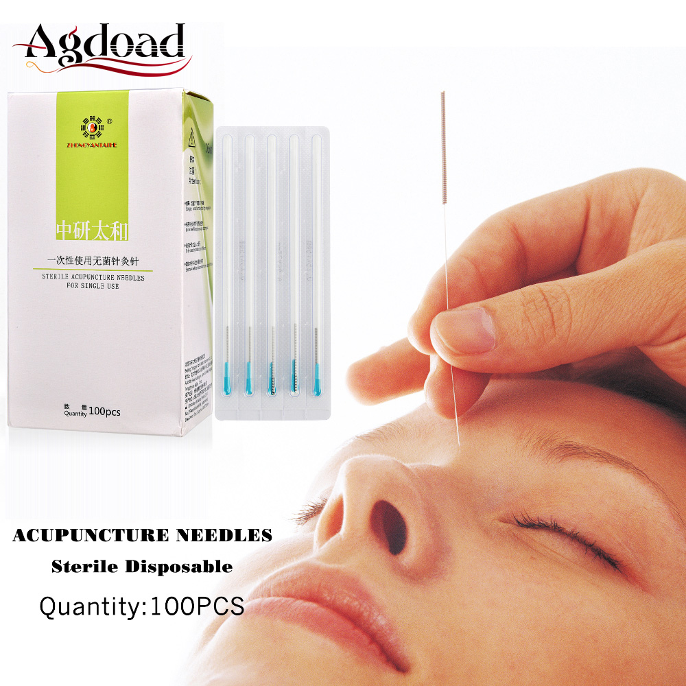 100PCS Disposable Sterile Acupuntura Needles Accupuncture Pen One Box Chinese Medical Treatment 0.25*75mm
