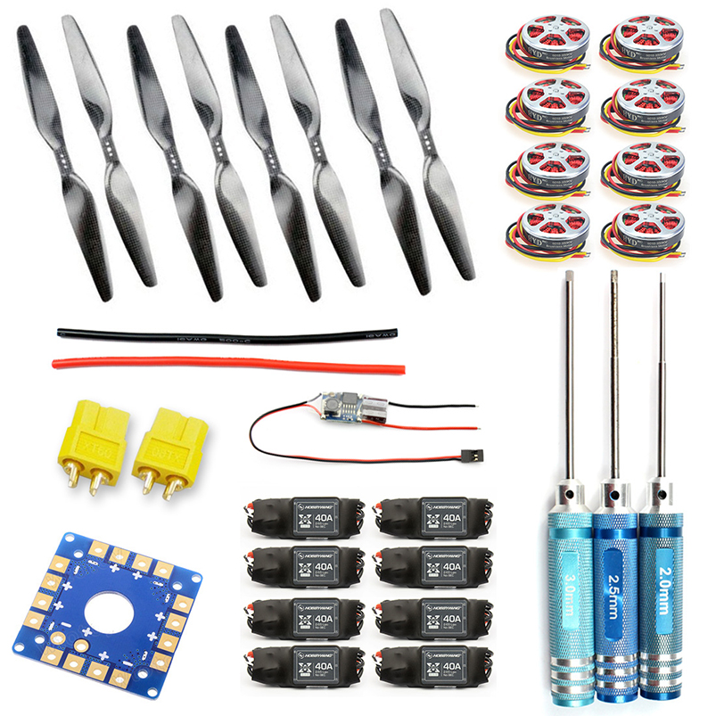 F05423-D 8-Axis Foldable Rack RC Helicopter Kit KK Connection Board+350KV Brushless Disk Motor+16x5.5 Propeller+40A ESC f02015 f 6 axis foldable rack rc quadcopter kit with kk v2 3 circuit board 1000kv brushless motor 10x4 7 propeller 30a esc