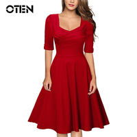 Black Red Women Clothing Sexy Vintage Retro 1950s Style Half Sleeve A Line Robe Ladies Evening