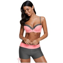 Patchwork Underwired Bikini Swimsuit Color block Swimsuit for Lady Comfortable Push up bott