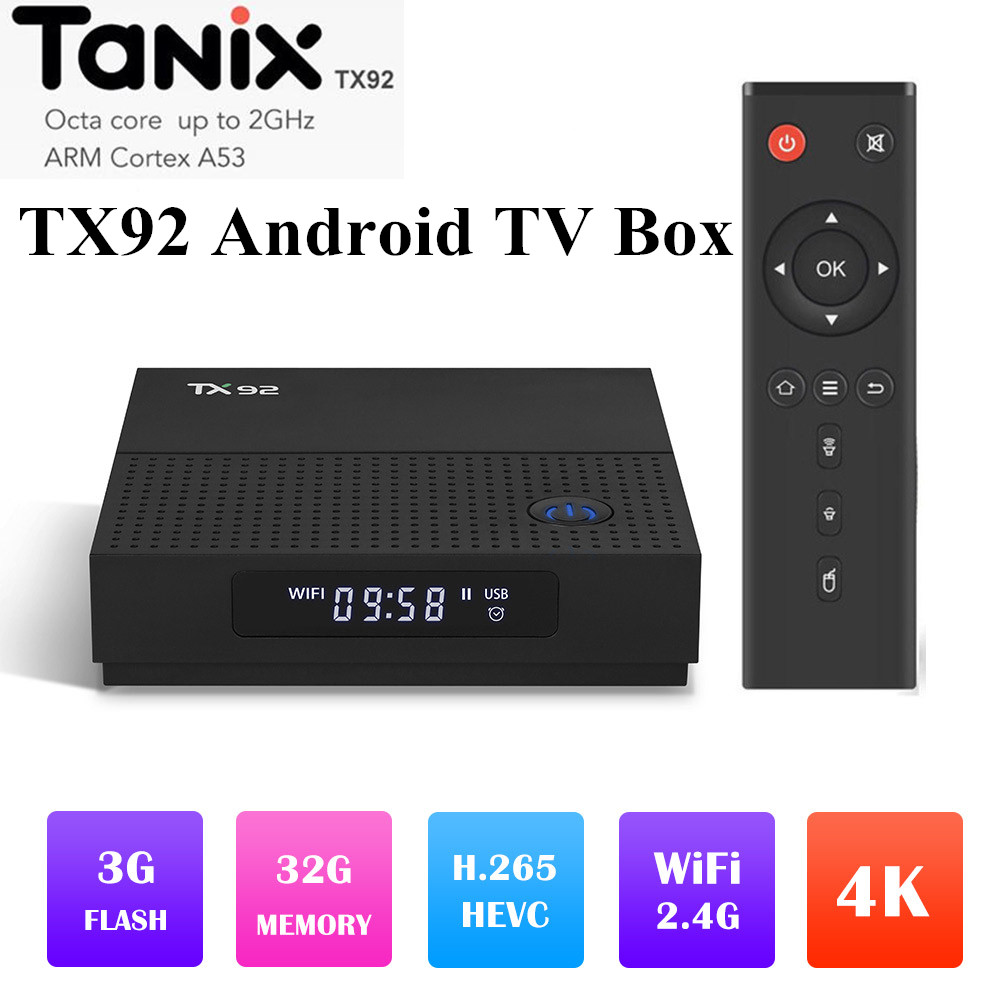 TANIX TX92 32 3 S912 Amlogic Octa Núcleo Android 7.1G RAM ROM G 2.4G/5 GHz Dual WI-FI Gigabit Lan KD 4 K UHD BT DLNA Miracast TV Box