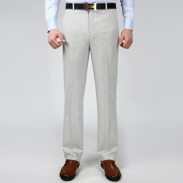 7cf355dab8c 2016 Men s Linen Dress Pants Summer Thin Suit Pants For Man Business Casual  Long Trousers Anti Wrinkle Straight Work Pants
