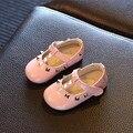 Chegada de novo! 2016 Outono Baby girl sapatos Do Parafuso Prisioneiro 1 ~ 3Y meninas sapatos de festa Sapatos de Couro T-bar Princesa Sapatos dedo do pé redondo