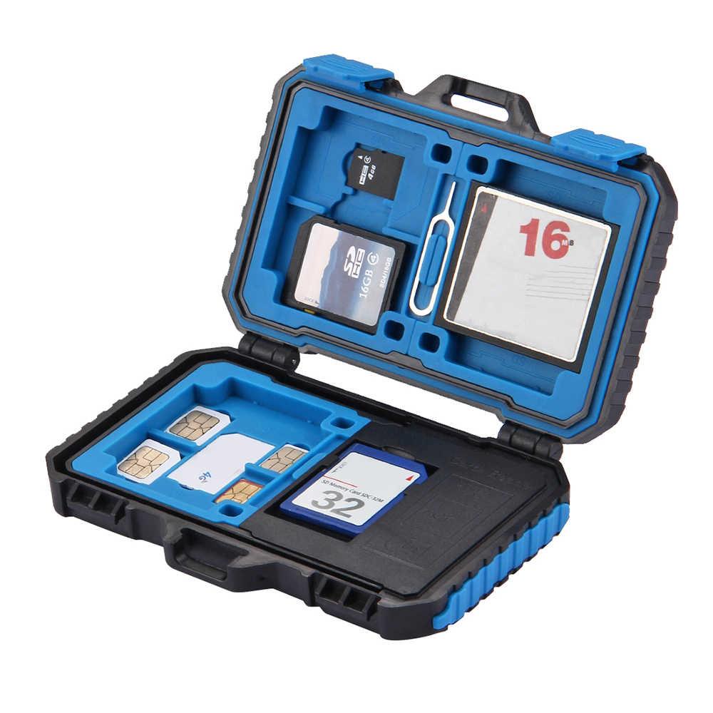 21 スロットカードリーダー収納ボックスメモリカードリーダー USB 3.0 防水 SD CF TF SIM カードケースホルダーのためのタブメモリカードバッグ
