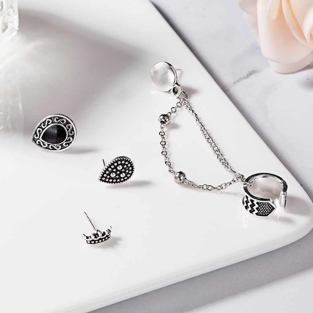 Bohemian Retro Style Crown Water Droplets Chain Fashion Earrings For Women Ear Cuff Set Feather Leaf Owl Earrings Brincos