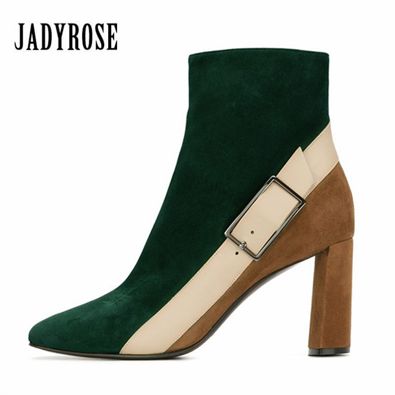 Jady Rose Green Suede Women Ankle Boots Belt Buckle Rubber Boot Mixed Color Chunky High Heel Shoes Woman Autumn Botas Mujer
