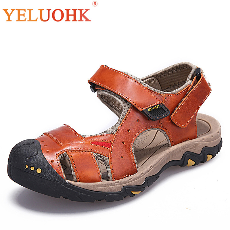 2018 Men Sandals Comfortable Soft Leather Sandals Men High Quality Men Summer Shoes
